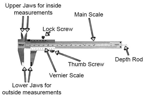 vernier caliper labelled diagram, autocad & schematic drawing - vernier  calipers